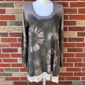 🍂 Altar'd State Long Sleeve Tie-dyed Fringe Top